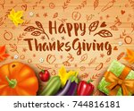 greeting card with pumpkin ... | Shutterstock .eps vector #744816181
