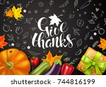 greeting card with pumpkin ... | Shutterstock .eps vector #744816199