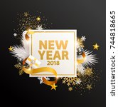 happy new year greeting card...   Shutterstock .eps vector #744818665