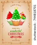 sweet christmas and new year... | Shutterstock .eps vector #744818701