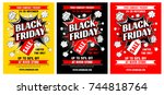 black friday sale advertising... | Shutterstock .eps vector #744818764