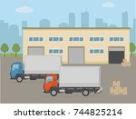 warehouse building and two...   Shutterstock .eps vector #744825214