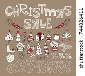 set of elements for christmas... | Shutterstock .eps vector #744826411
