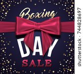 boxing day greeting card design ... | Shutterstock .eps vector #744828697