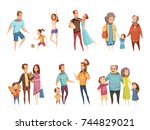 family cartoon set with parents ...   Shutterstock .eps vector #744829021