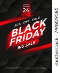 black friday sale poster or... | Shutterstock .eps vector #744829585