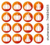 pumpkin white silhouette icon... | Shutterstock .eps vector #744834055