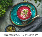 spring detox beetroot soup with ... | Shutterstock . vector #744834559