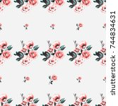 vintage traditional roses... | Shutterstock .eps vector #744834631