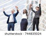 successful business teamwork... | Shutterstock . vector #744835024