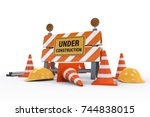 3d rendering under construction ... | Shutterstock . vector #744838015