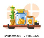 savings and storage golden... | Shutterstock .eps vector #744838321