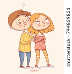 sorry. boy trying to apologize... | Shutterstock .eps vector #744839821
