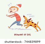 warning. beaware of dog. dog... | Shutterstock .eps vector #744839899