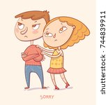sorry. girl trying to apologize ... | Shutterstock .eps vector #744839911