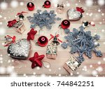 christmas background and... | Shutterstock . vector #744842251