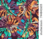 tropic seamless pattern with... | Shutterstock .eps vector #744842635