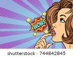 wow woman thinks. pop art retro ... | Shutterstock .eps vector #744842845