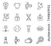 thin line icon set   bulb brain ... | Shutterstock .eps vector #744843931