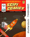 comic scifi book cover template ... | Shutterstock .eps vector #744844885