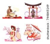 visit japan retro cartoon... | Shutterstock .eps vector #744845149