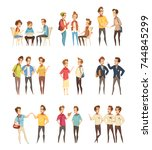 teenage boys groups talking and ... | Shutterstock .eps vector #744845299