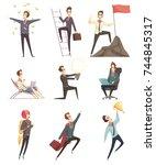business success retro cartoon... | Shutterstock .eps vector #744845317