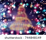 christmas tree new year lights... | Shutterstock . vector #744848149