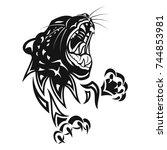 leopard in rage. black tattoo....   Shutterstock .eps vector #744853981