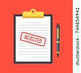 rejected application. clipboard ... | Shutterstock .eps vector #744854941