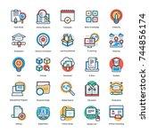 education vector icons set   | Shutterstock .eps vector #744856174