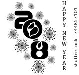 2018 happy new year  simple... | Shutterstock . vector #744857101