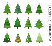 Stock vector collection of christmas trees modern flat design can be used for printed materials leaflets 744857764