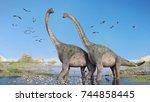 couple of brachiosaurus... | Shutterstock . vector #744858445