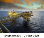 oil and gas  rig  platform ... | Shutterstock . vector #744859525
