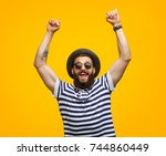 young hipster man in sunglasses ...   Shutterstock . vector #744860449