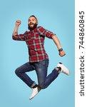 smiling hipster man having fun...   Shutterstock . vector #744860845