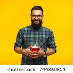 smiling bearded hipster man... | Shutterstock . vector #744860851