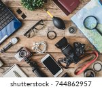 top view travel concept and... | Shutterstock . vector #744862957