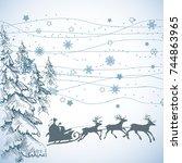 christmas scene. santa's sleigh ... | Shutterstock .eps vector #744863965