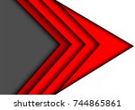 abstract red arrow speed gray... | Shutterstock .eps vector #744865861
