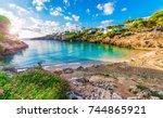 little beach cala esmeralda ... | Shutterstock . vector #744865921