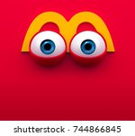 eyes cartoon. mouth of... | Shutterstock . vector #744866845