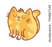 cute ginger cat  proud ... | Shutterstock .eps vector #744867145