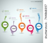 time line info graphic with... | Shutterstock .eps vector #744868357