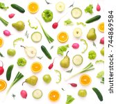 a composition of fresh... | Shutterstock . vector #744869584