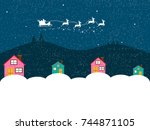 christmas background.happy new... | Shutterstock . vector #744871105