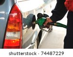 man refilling the car with fuel ... | Shutterstock . vector #74487229