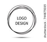logo design. vector hand drawn... | Shutterstock .eps vector #744875035