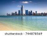 abu dhabi skyline  united arab... | Shutterstock . vector #744878569
